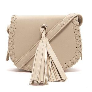 Beige Faux Leather Crossbody Bag